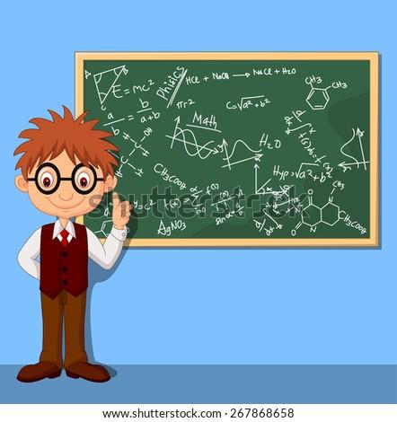 Cartoon smart boy - stock vector