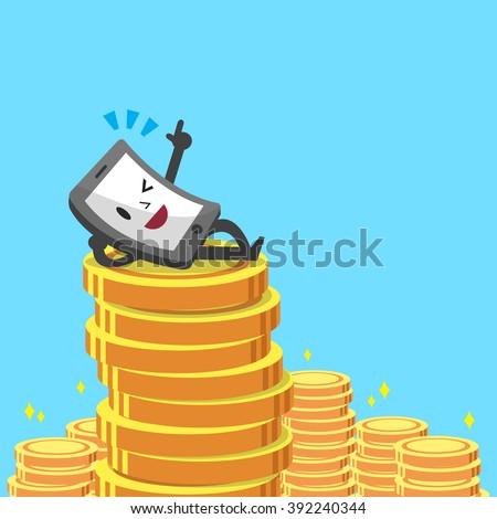 Cartoon smartphone and money coins - stock vector