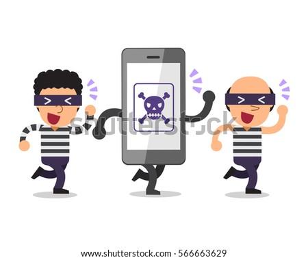 BONDGATE - SRI LANKA'S BIGGEST BOND SCANDAL! Stock-vector-cartoon-smartphone-and-thieves-566663629