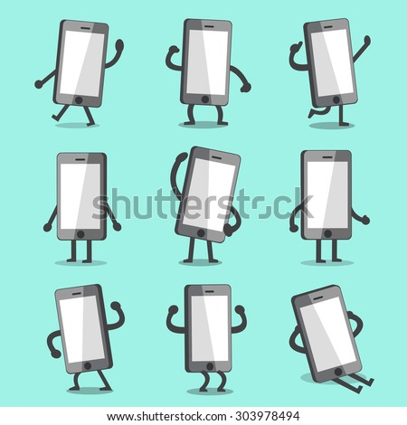 Cartoon smartphone character poses with empty screen - stock vector