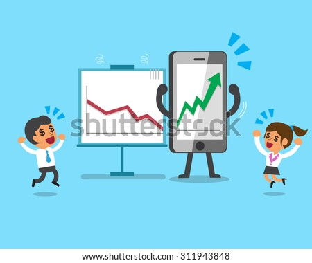 Cartoon smartphone make business much more profitable  - stock vector