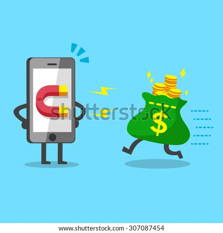 Cartoon smartphone using magnet icon to attracts money bag - stock vector