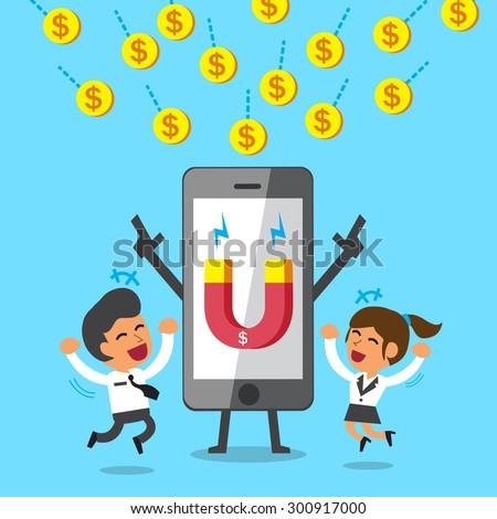 Cartoon smartphone using magnet icon to attracts money coins - stock vector