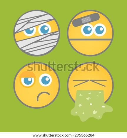 Cartoon Smiley Set - stock vector
