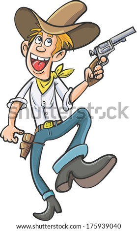 Cartoon smiling dancing cowboy. Isolated on white - stock vector