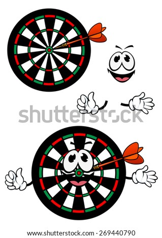 Cartoon smiling darts target character with colorful concentric numbered segments and dart arrow in the center for sports or leisure design - stock vector