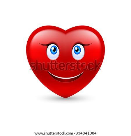 Cartoon Smiling Female Heart on white background - stock vector