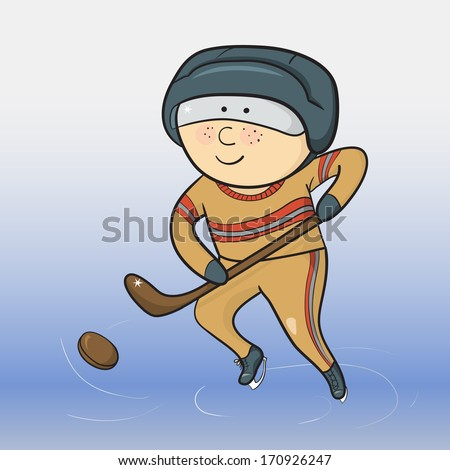 Cartoon smiling hockey player, winter sports, vector ilustration