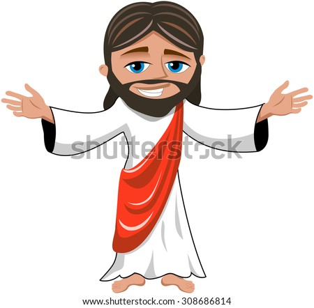 Cartoon smiling Jesus opens his hands isolated - stock vector