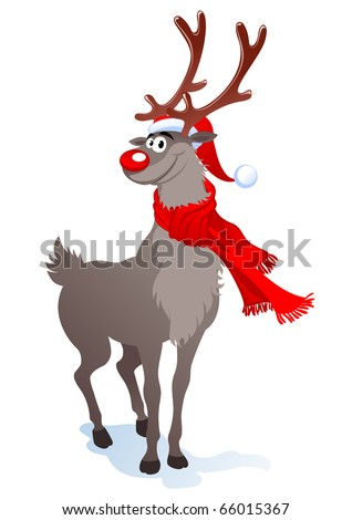 Cartoon smiling reindeer in santa hat - stock vector