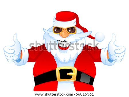 Cartoon Smiling Santa Claus shows thumb up, isolated on white