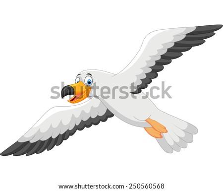 Cartoon smiling seagull  - stock vector