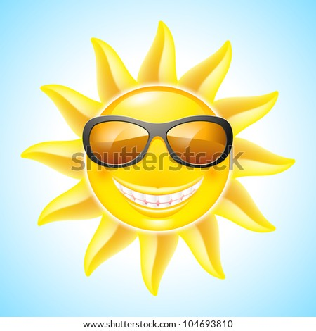 Cartoon Smiling Sun with Sunglasses. See other works in my portfolio
