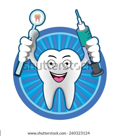 Cartoon Smiling tooth with mouth mirror and syringe icon