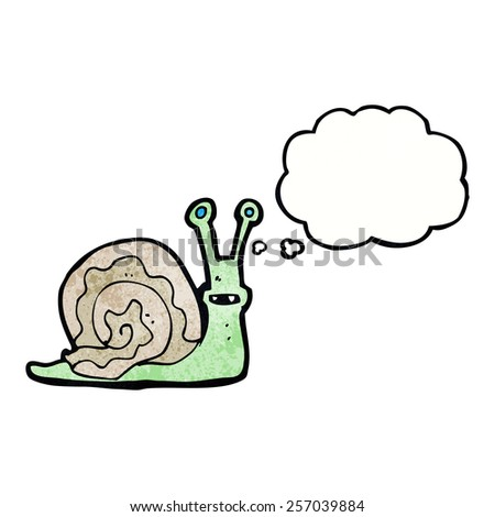 cartoon snail with thought bubble