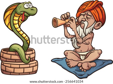 Cartoon snake charmer. Vector clip art illustration with simple gradients. Both characters on separate layer. - stock vector