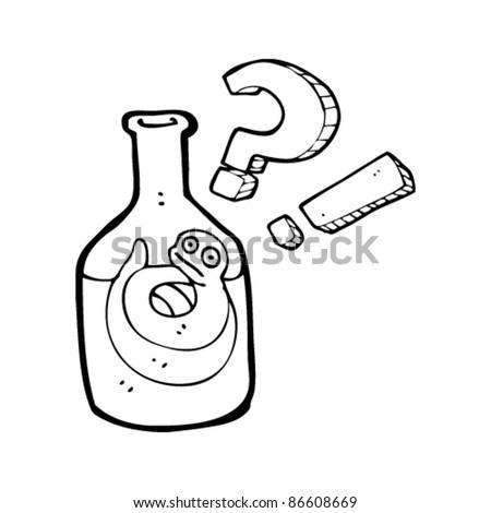 cartoon snake in bottle - stock vector
