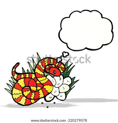 cartoon snake on nest of eggs - stock vector