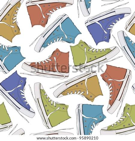Cartoon sneakers seamless texture. Vector illustration - stock vector