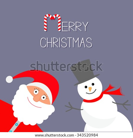 Cartoon Snowman and Santa Claus. Violet background. Candy cane. Merry Christmas card. Flat design Vector illustration