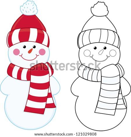 Cartoon snowman. Coloring book. - stock vector