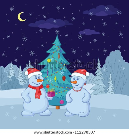 Cartoon, snowmans with holiday gifts under the Christmas tree in winter forest. Vector