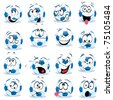cartoon soccer ball with many expressions - stock vector