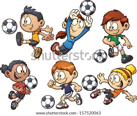 cartoon soccer kids vector clip art illustration with simple gradients each element on a - Cartoon Pictures For Kids