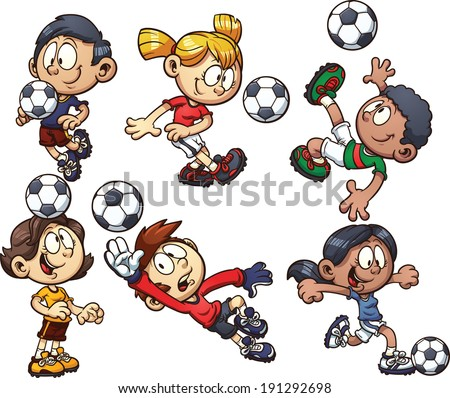 Cartoon soccer kids. Vector clip art illustration with simple gradients. Each on a separate layer. - stock vector
