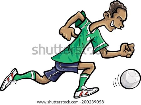 Cartoon soccer player chasing a football - stock vector
