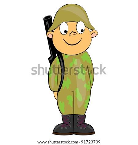 cartoon soldier standing with gun. military man vector character - stock vector