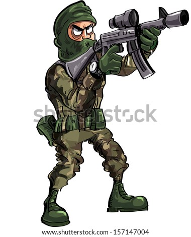 Cartoon soldier with gun and balaclava. Isolated on white