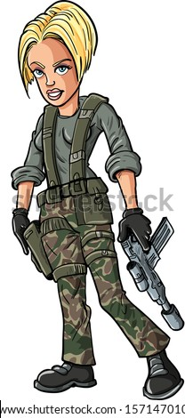 Cartoon soldier with machine gun. Isolated on white - stock vector