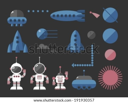 cartoon space icon, vector illustration