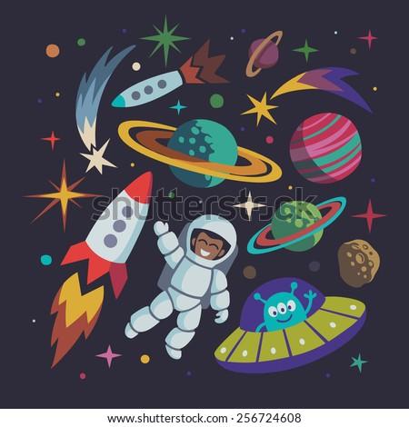 Cartoon space illustration set. Astronaut, planet, rocket - stock vector
