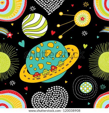 Cartoon space seamless pattern. - stock vector