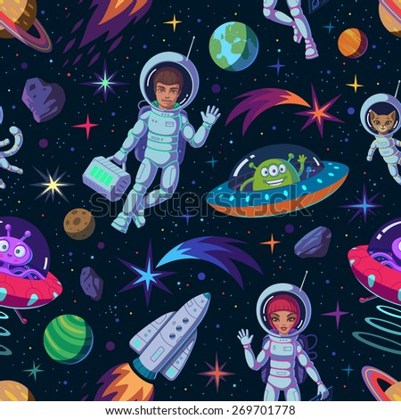 Cartoon space seamless pattern of astronauts, aliens, rocket, planets, comets - stock vector