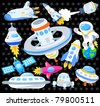 cartoon spaceship icon - stock photo