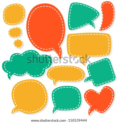 Cartoon speech bubbles. Different sizes and forms. Vector illustration.