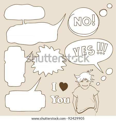 Cartoon speech bubbles with boy in hand-drawn style - stock vector