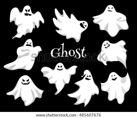 Cartoon spooky ghost character vector set stock vector royalty free cartoon spooky ghost character vector set spooky and scary holiday monster design ghost character publicscrutiny Images