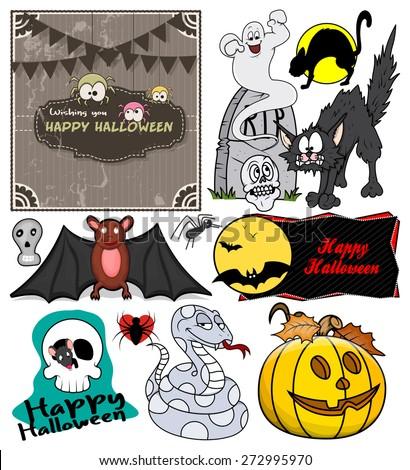 Cartoon Spooky Halloween Graphics - stock vector