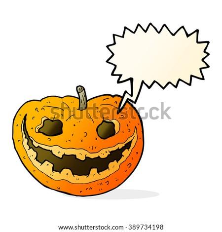 cartoon spooky pumpkin with speech bubble - stock vector