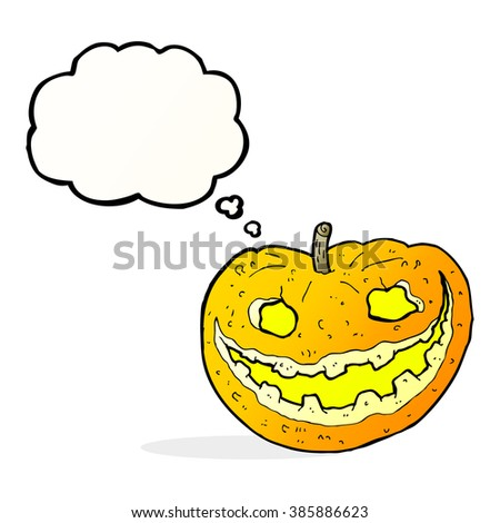 cartoon spooky pumpkin with thought bubble