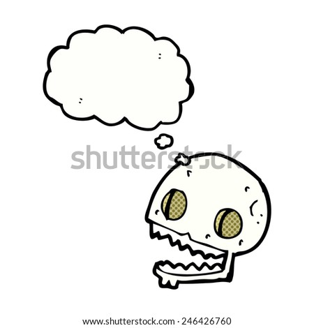 cartoon spooky skull with thought bubble