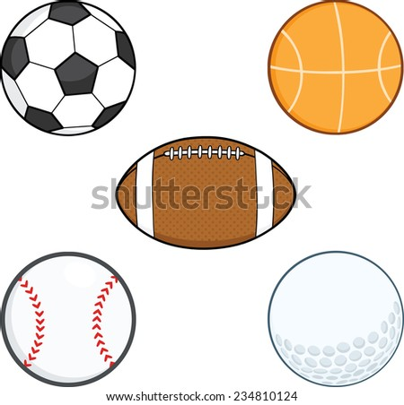 Cartoon Sport Balls. Vector Collection Set