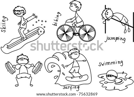 cartoon sport icon black white coloring stock vector 75632869 shutterstock. Black Bedroom Furniture Sets. Home Design Ideas