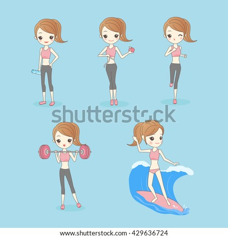 Cartoon Sport Woman with health figure, great for your design or text, asian beauty - stock vector