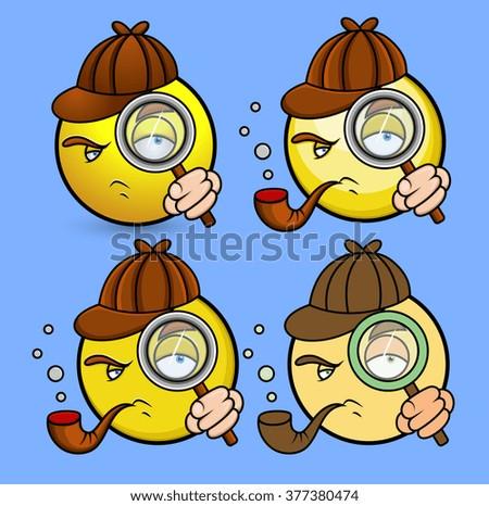Cartoon Spy Detective Emoticons - stock vector