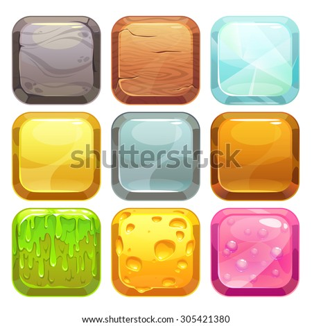 Cartoon square buttons set, app icons with different textures, isolated on white - stock vector